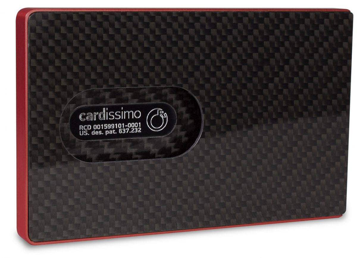 Cardissimo Carbon Fibre Card Case red