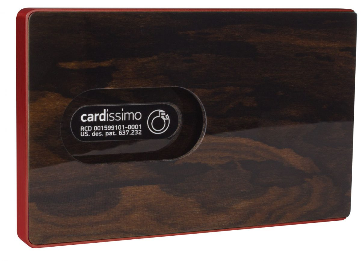 Cardissimo-Card Holder Dark Ziricote Red